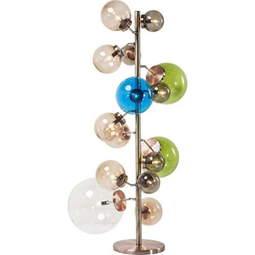 Kare Design Stehleuchte Balloon Colore LED, Stehlampe für Innen, mit 15 großen, farbigen Lampenschirmen, edle Designleuchte (HxBxT) 160x95x75cm [Energieklasse A], Glass, Kupfer