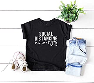 Social Distancing Expert Kids Tshirt Funny Kids Shirt Cotton Unisex Tee Kids Toddlers Quarantine Introvert