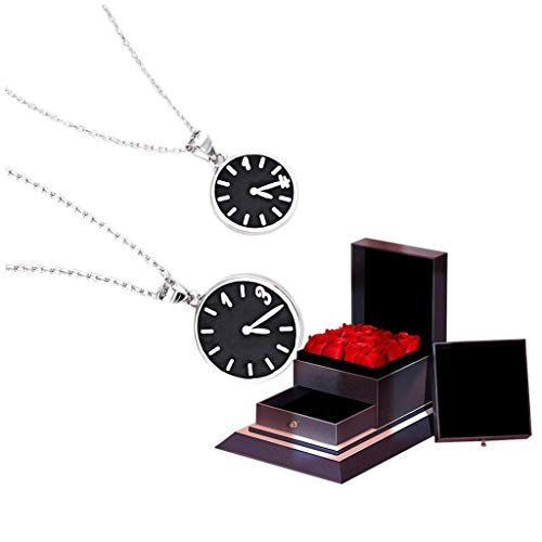 WECDS-E Collar Reloj Collar de Pareja Un par de Colgantes de Plata de Ley 925 Collar de Hombre y Mujer Cadena de clavícula de Moda (Caja de Regalo) Gargantilla Delicada (Tamaño: A)