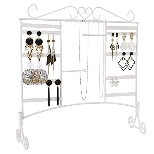 Earring Necklace Holder Jewelry Organizer Display Stands Pierced Pegboard Clip Large Earring Holders for Girls Kids Shows Wall Mounted Hanging Rack with Removable Base 10 Hooks and 80 Holes White