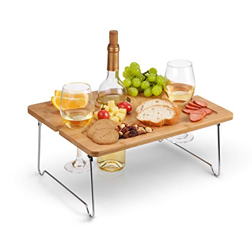 Portable Bamboo Wine Glasses & Bottle Holder Cheese Board Tray