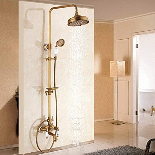 XQMY Shower system Antique Brass Bathroom Shower Faucets Set 8 Rain Shower Head Handles Mixer Tap With Soap Dish Bath Shower s,Type B