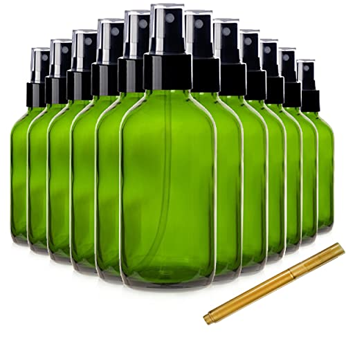 Chef's Star 2oz Glass Spray Bottles with Gold Pen Marker, Small Spray Bottle for Hair Spray, Essential Oil, Colognes, and Hand Sanitizers, Green, Pack of 12