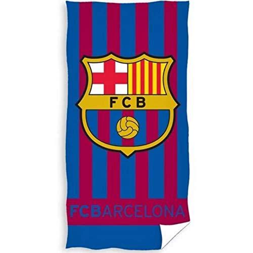 Barcelona FC - Toalla Playa Rayas con Escudo Barcelona FC 70 x 140 cm.