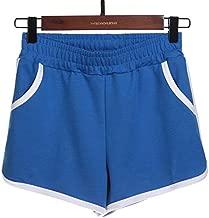 JOFOW Womens Sports Shorts Solid Elastic Cotton Comfy Loose Mini Pants