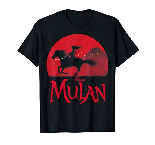 Disney Mulan Live-Action Mulan & Khan Sunset Silhouette T-Shirt   Best Gifts for Mulan Fans