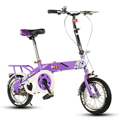 LIERSI Minifahrrad Folding Kinder Fahrrad Straßen Fahrrad Erwachsene Mann Female Student Fahrrad City Bike Leichtes Bike (Größe: 12 Zoll),Lila