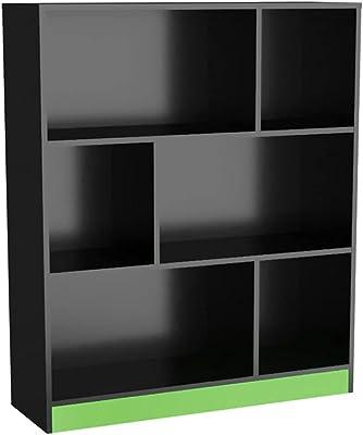 Estante Gamer com 6 Nichos B25 - Preto/Verde