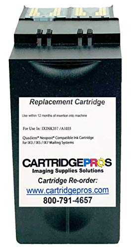 Made in USA Compatible IXINK357 Quadient Neopost Compatible Ink Cartridge for IX3, IX5 & IX7 Mailing Systems