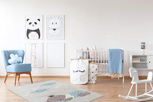 Mani Textile - Tappeto per bambini, morbido, antiscivolo e lavabile in lavatrice, blu, 80_x_150_cm