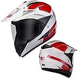 OLEEKA Casco de la motocicleta Casco de cara completa Visor claro Alerón Casco Moto Capacete Motocross DOT aprobado para carreras