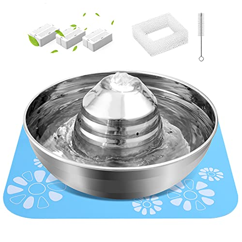 Cat Water Fountain Stainless Steel, 67 OZ /2 L Dog...