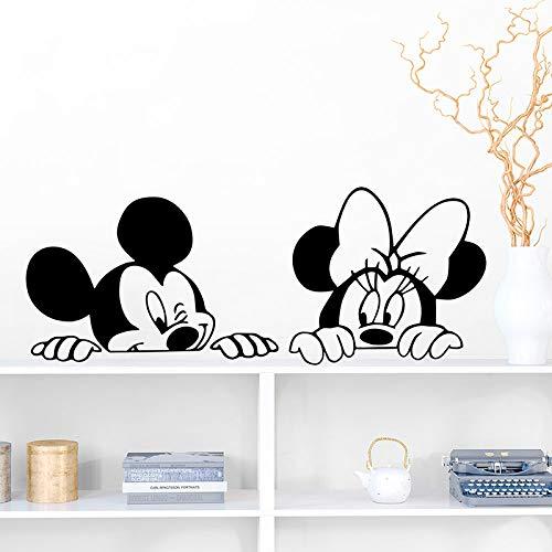 GVC Cartoon Wall Stickers Kids Bedroom Art Decor Cute Mickey Minnie Mouse Baby Nursery Art Vinyl Wall Decals