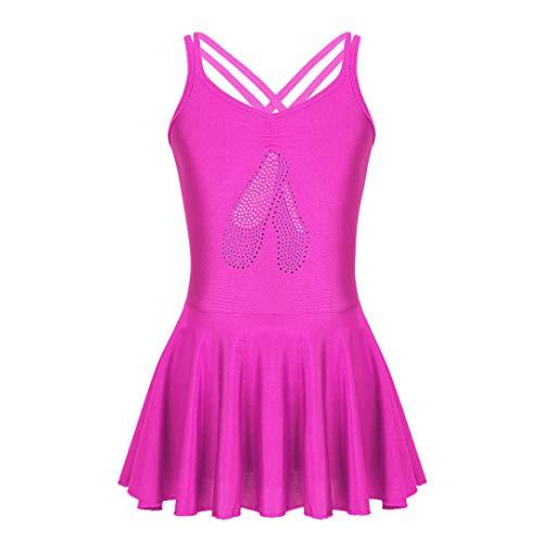 BUTERULES Girls Ballet Dance Dress Girl Dance Clothing Kids Ballet Tutu Gymnastics Dresses for Girls Leotard Costumes Rose Red 4XL