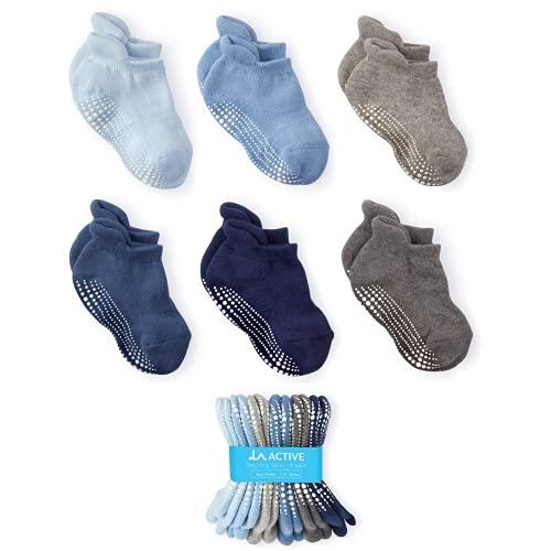 LA Active Stoppersocken - Kinder & Baby Socken 0-6 Monate bis 10 Jahre - Warme Anti Rutsch Socken für Jungen und Mädchen - Rutschfeste Halbsocken