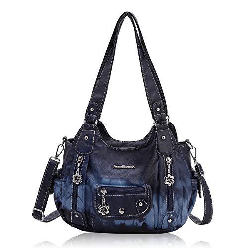 Angel Barcelo Roomy Fashion Hobo Damen-Handtaschen, Umhängetasche, Handtasche, gewaschenes Leder, (161496Z-blau), Large