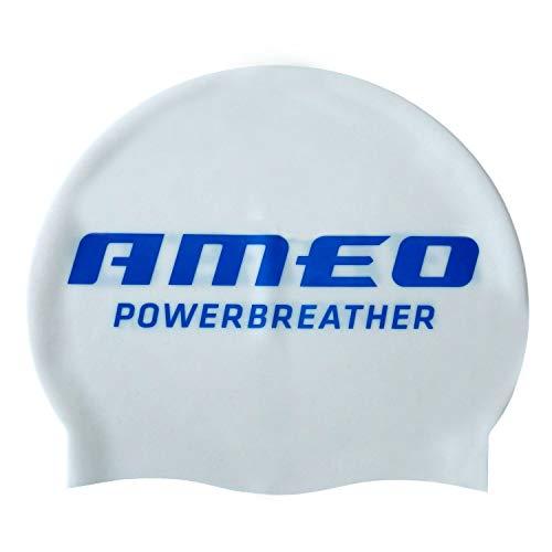 AMEO POWERBREATHER SWIM CAP bonnet de bain Silicone / Blanc / Taille unique (One Size)