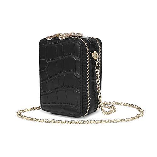Aolaso Mini sac à main en cuir véritable avec miroir pour rouge à lèvres et cartes de crédit