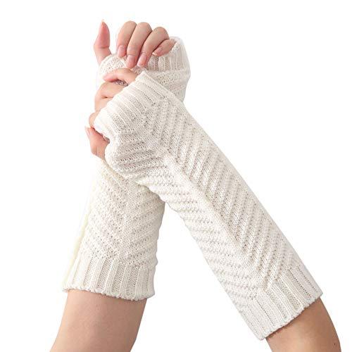 Yue668 - Guantes de punto en el brazo, para mujer, guantes de invierno sin dedos, suaves y cálidos, 30 cm x 8 cm