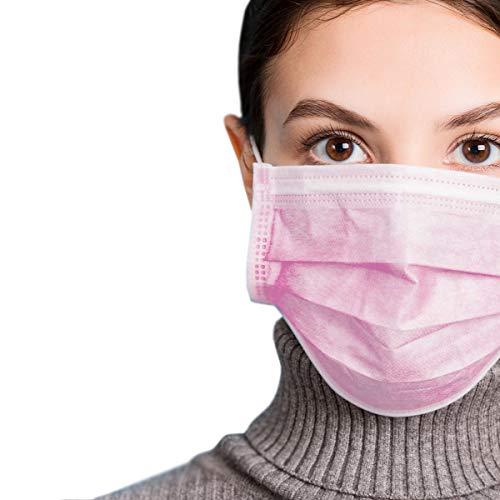 azurano Einweg Alltagsmaske Community-Maske | 50 Stück Pink | 3-lagige Behelfs-Mund-Nasen-Maske aus weichem Vlies | atmungsaktiv | geruchsneutral