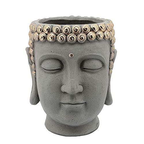 Benjara 13 Inch Sleeping Buddha Head Design Resin Planter, Gray