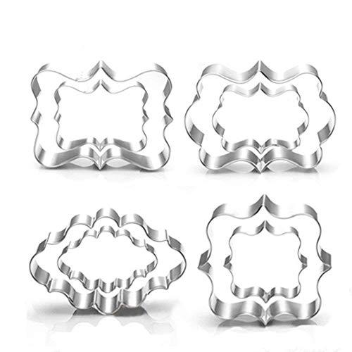 Set di 8 formine per biscotti a forma di cornice quadrata, ovale e rettangolare, in acciaio inossidabile, ideali per fondente, torte, biscotti, per feste o matrimoni