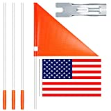 Safety Flag with Pole, 6 Foot Adjustable High Visibility Bike Flag, Brightly Colored Waterproof and Tear-Resistant Safety Flag for Kids Bike, Sturdy Fiberglass Bicycle Flag Pole with A Free US Flag