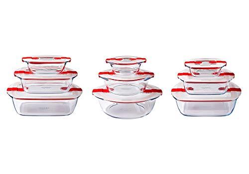 Pyrex® Cook & Heat 9-teiliges Set aus Glas mit luftdichten Deckeln für die Mikrowelle, BPA-frei