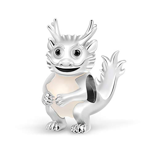 GNOCE Cartoon Dragon Animal Charm Bead Sterling Silver Noble and Authority Zodiac Signs Charm Bead Fit Bracelet/Necklace Jewelry Gift for Women Mens
