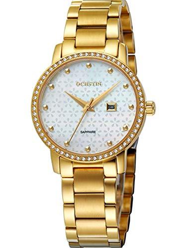 MLHXHX Reloj de mujer de alta gama con correa de acero inoxidable con diamantes y perla Shell reloj de señoras oro