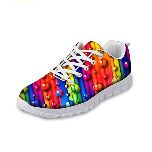 AXGM Herren Laufschuhe Turnschuhe Straßenlaufschuhe Schuhe Steigung Regenbogen Färbt Bunte Streifen 3D Druck Mode Sportschuhe Fitness Atmungsaktiv Sneakers HA01 EU 41