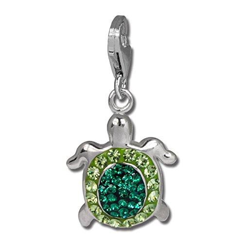 SilberDream Glitzer Charm Schildkröte grün Zirkonia Kristalle Anhänger 925 Silber für Bettelarmbänder Kette Ohrring GSC536G