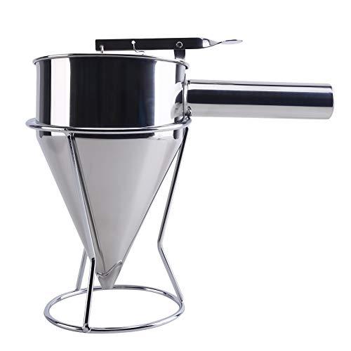 HBWHY Embudo de acero inoxidable de la tolva del pistón dispensador de la masa de la panadería de mano uso de la torta de la salsa de la crema de la dosificación del embudo para la herramienta