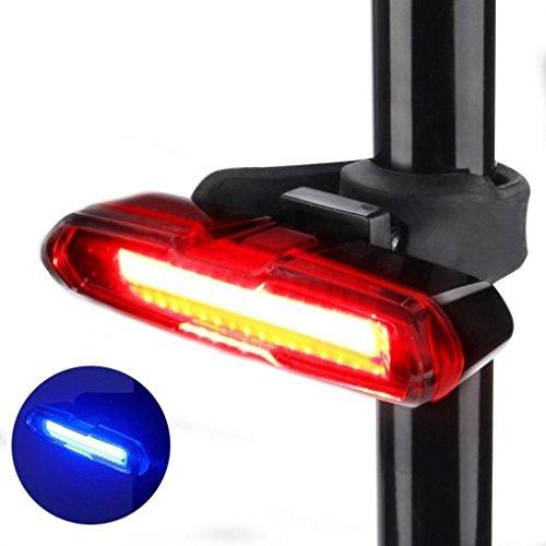 Koly Luz trasera para bicicleta Luz roja u azul u ambas LED Seguridad en la bicicleta Recargable con USB para LED USB recargable bicicleta trasera cola luz 5 modos linterna (Negro, 87mm*40mm*120mm)