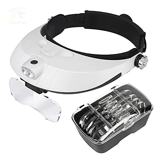 Lupa De Manos Libres Gafas Con Lupa De Vidrio Ligero Lámpara De Estilo De Uso Iluminada Con Lupa Para Reparación Joyero