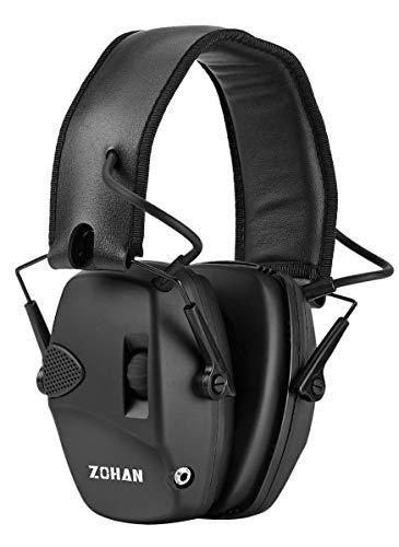 ZOHAN Elektronische Gehörschutz Schiessen Kapselgehörschutz Ohrenschützer Lärmdämpfung für Jagd Schieß Dämmwert, NRR22dB SNR 27dB (Schwarz(KEIN Tasche))