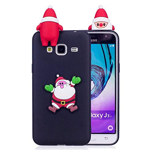 HongYong Samsung Galaxy J5 (2016) / J520 Cover - Custodia in Silicone TPU - Copertina Protettiva Back Case Backcover per Samsung Galaxy J5 (2016) / J520 - Babbo Natale (nero)