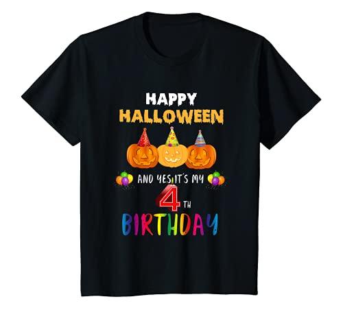 Nios Happy Halloween And Yes It's My 4th Birthday - Regalo para nios Camiseta