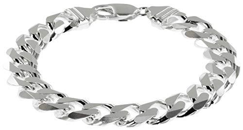 Avesano Panzerkette für Herren in 925 Silber, 11mm breites Silber Armband Herren 925 Sterlingsilber, Herrenarmband Silber in der Länge 21cm, Armkette echt Silber 102044-021