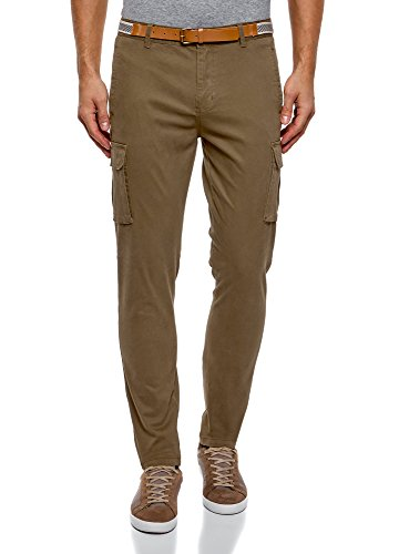 oodji Ultra Hombre Pantalones con Bolsillos de Parche
