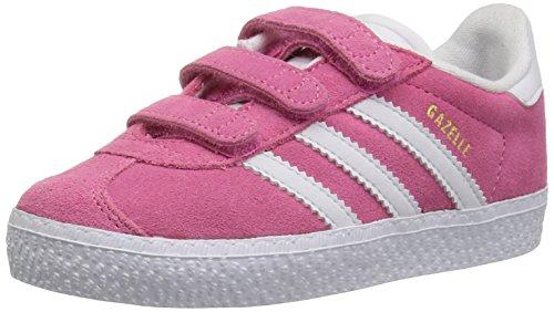 adidas Originals Baby Gazelle CF Sneaker, White/semi Solar Pink, 5.5K M US Toddler