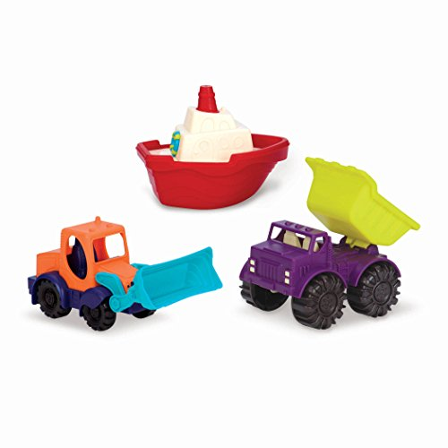 B. toys by Battat 44616 B. 3 Pack Summer Vechicles Sandspielzeug 3 Teile – Sandkasten, Strand, Spielplatz, Badespielzeug mit Bagger, Kipper und Boot – Spielzeug ab 18 Monaten