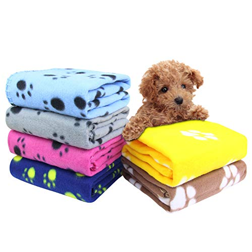 AK KYC 6 Pack Mixed Puppy Blanket Cushion Dog Cat Fleece Blankets Pet Sleep Mat Pad Bed Cover with Paw Print Kitten Soft Warm Blanket for Animals, A