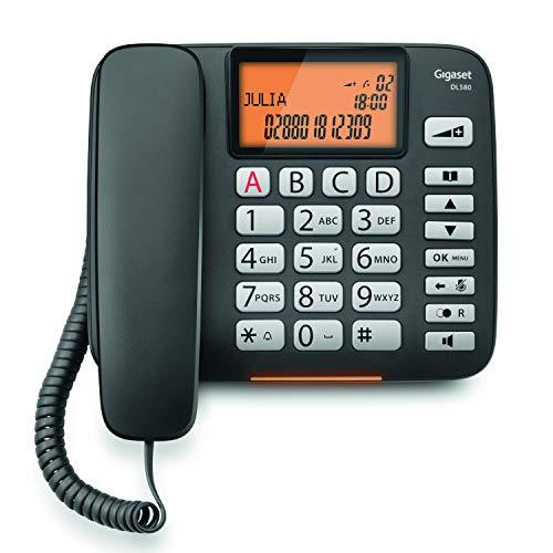Gigaset DL580. Teléfono fijo con cable, Manos Libres, Gran pantalla de alta visibilidad, Compatible con audifonos, Color Negro