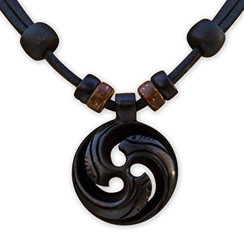 HANA LIMA ® Handgefertigte Halskette Surferkette Koru Maori Neuseeland Herren Damen Lederkette Surferhalskette