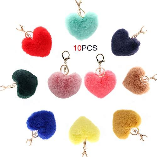 Kitchen-dream 10 pezzi portachiavi soffice portachiavi cuore in pelliccia sintetica portachiavi pompon chiave fibbia appesa borsa per ragazze signore (colorato)