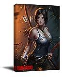 ARYAGO Tomb Raider Lara - Póster enmarcado de madera, 40,6 x 60,9 cm, diseño de Lara Croft