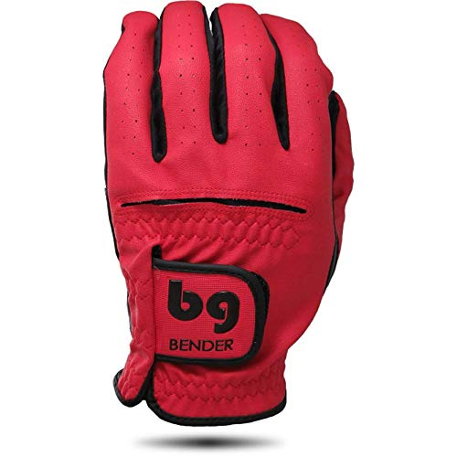 Bender Gloves Men's Synthetic Golf Glove (Worn on Left Hand) (Red, Medium-Large)