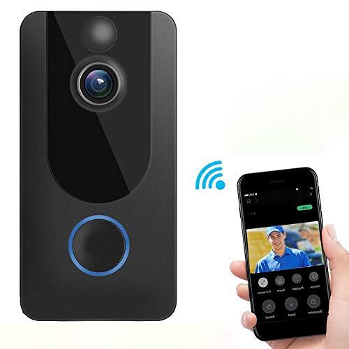 Yaobuyao Video Deurbel, Wifi Smart Draadloze Deurbel 1080P HD Camera met Twee-weg Voice Intercom PIR Bewegingsdetectie Gratis Cloud Opslag Functie
