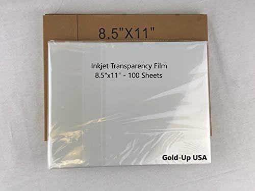 GoldUpUSAInc-8.5 x 11 Inch Waterproof Inkjet Transparency Film for Silk Screen Printing - 1 Pack (100 Sheets)